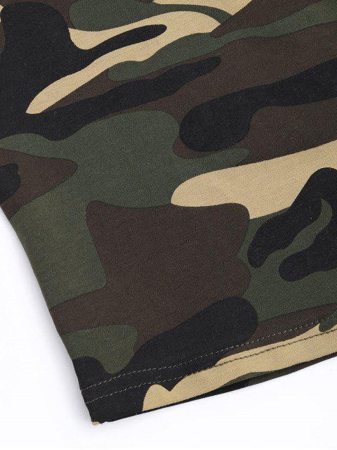 chic Cut Out Camouflage Cropped Top - CAMOUFLAGE L Mobile