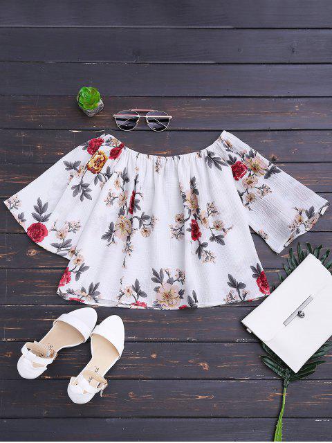 Loose Floral Off Shoulder Top - Blanc L Mobile