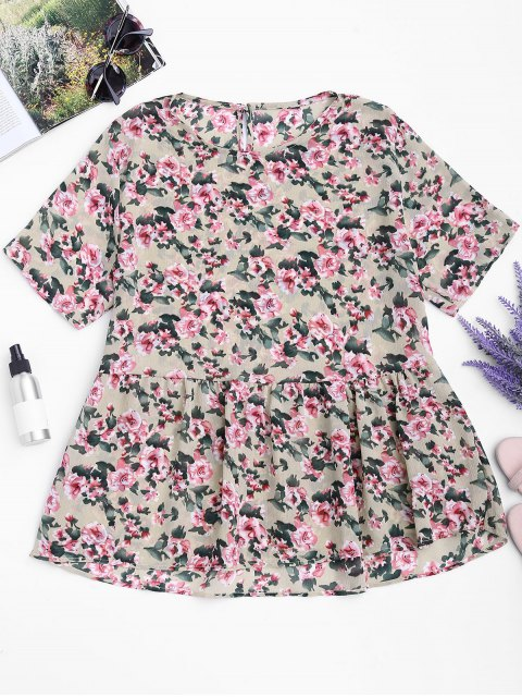 outfit Loose Ruffles Floral Top - FLORAL L Mobile