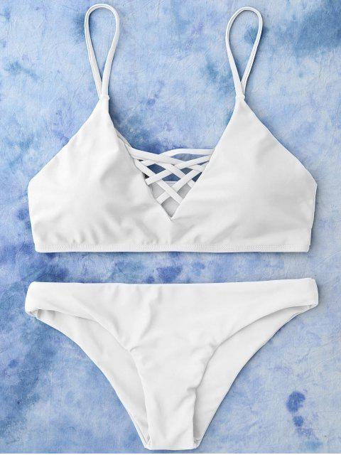 ladies Lace Up Bikini Swimwear - WHITE L Mobile