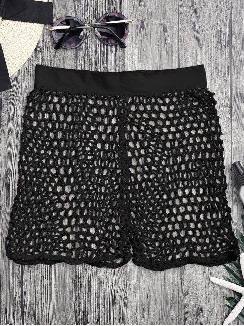 outfit Crochet Fishnet Beach Cover Up Shorts - BLACK M Mobile