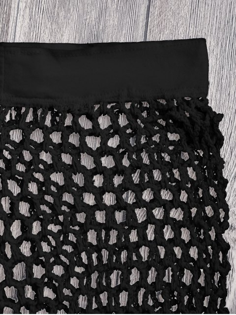 outfits Crochet Fishnet Beach Cover Up Shorts - BLACK S Mobile