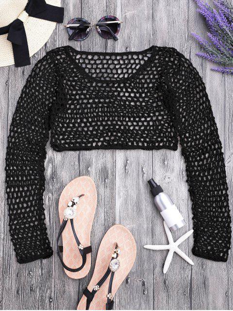 shop Crochet Fishnet Beach Cover Up Crop Top - BLACK M Mobile