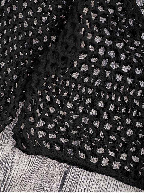 shops Crochet Fishnet Beach Cover Up Crop Top - BLACK S Mobile