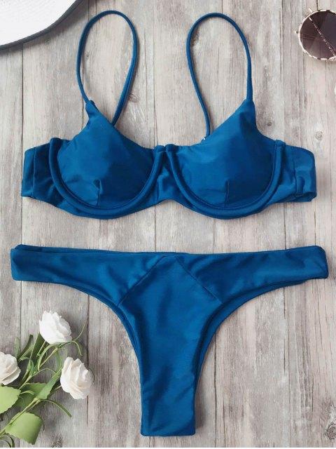 fashion Adjustable Straps Balconette Underwire Bikini Set - CADETBLUE M Mobile