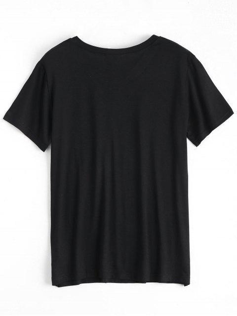 unique Cotton Skeleton Graphic T-Shirt - BLACK M Mobile