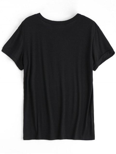 T-shirt graphique en coton-feu - Noir S Mobile