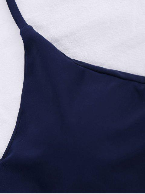 online String Floral Panel Bikini Set - PURPLISH BLUE M Mobile