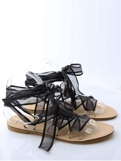 chic Metal Ring Flat Heel Tie Up Sandals - BLACK 38 Mobile