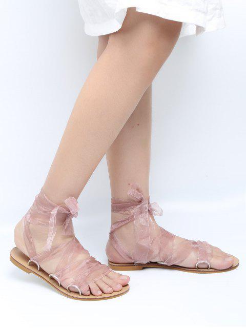affordable Metal Ring Flat Heel Tie Up Sandals - PINK 40 Mobile