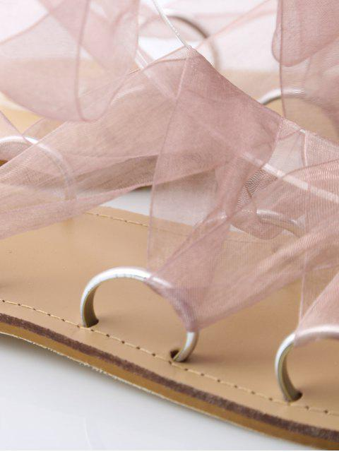 buy Metal Ring Flat Heel Tie Up Sandals - PINK 37 Mobile