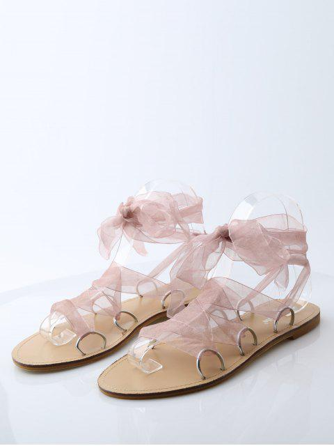 womens Metal Ring Flat Heel Tie Up Sandals - PINK 38 Mobile