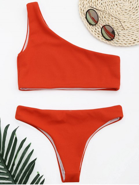 ladies Ribbed Texture One Shoulder Bikini - RED S Mobile
