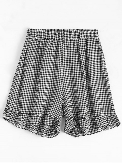 shop High Waisted Ruffles Plaid Shorts - CHECKED L Mobile