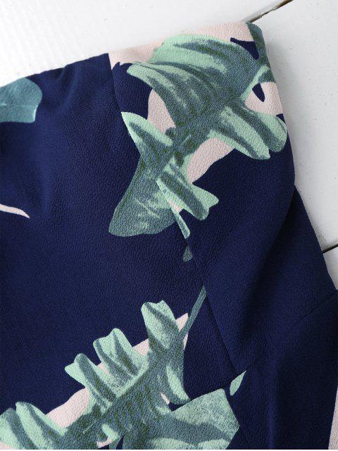combinaison à encolure-bateau à motif de feuilles imprimés - Bleu Violet L Mobile