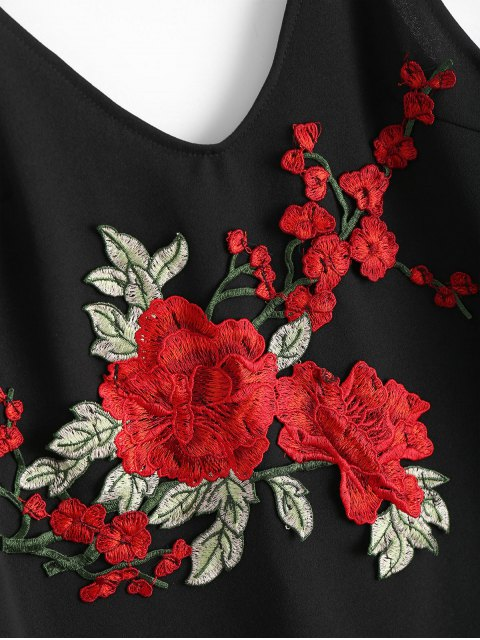 hot Rose Embroidered Patched Slip Bodycon Dress - BLACK M Mobile