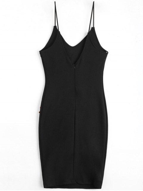 Rose Brodée Patched Slip Bodycon Dress - Noir S Mobile