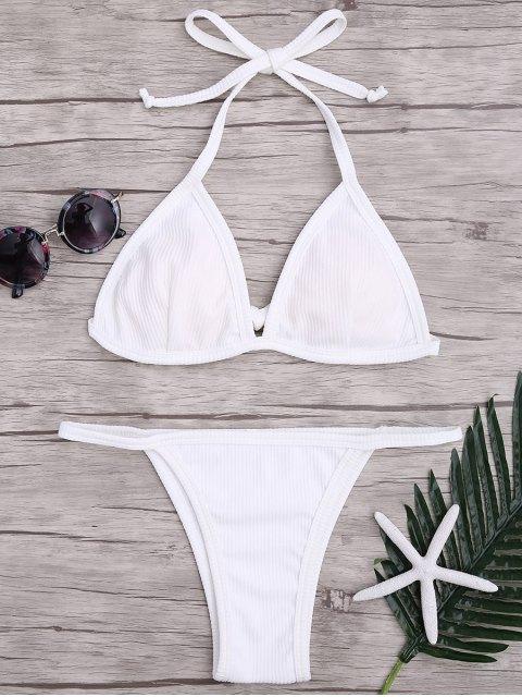 shop Padded Textured String Bikini Set - WHITE M Mobile