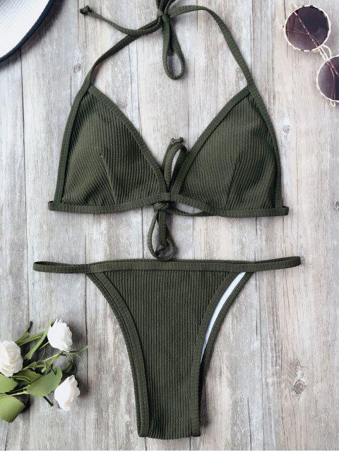 trendy Padded Textured String Bikini Set - ARMY GREEN L Mobile