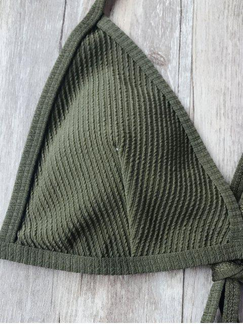 chic Padded Textured String Bikini Set - ARMY GREEN S Mobile