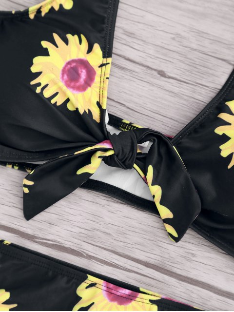 sale Sunflower Knotted Bikini Top and Bottoms - BLACK S Mobile