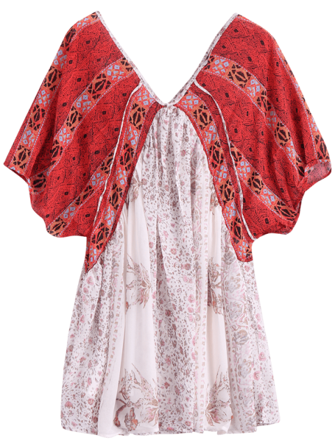 latest Short Sleeve Vintage Print Dress - RED WITH WHITE XS Mobile
