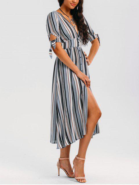 latest Stripes Bowknot Button Up Midi Dress - STRIPE M Mobile