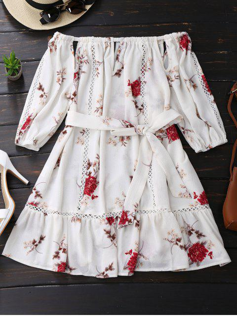 hot Floral Print Cut Out Belted Dress - WHITE L Mobile