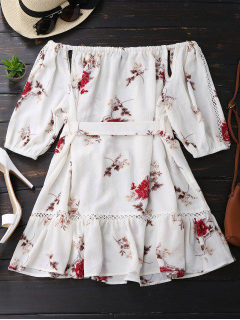 outfits Floral Print Cut Out Belted Dress - WHITE S Mobile