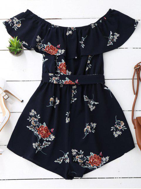 shops Floral Print Flounce Belted Romper - PURPLISH BLUE M Mobile