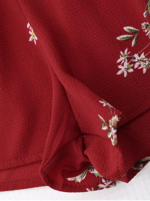 Combishorts imprimé floral à volants ceinturé - Rouge L Mobile