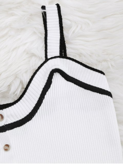 sale Color Block Knitted Button Up Tank Top - WHITE ONE SIZE Mobile