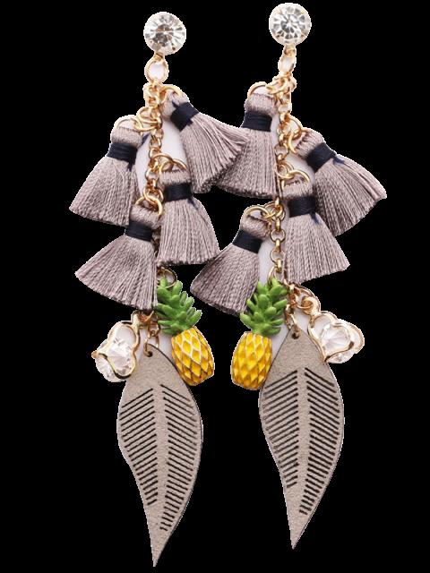 Boucles d'oreilles en strass à pampilles forme ananas coeur - Gris  Mobile