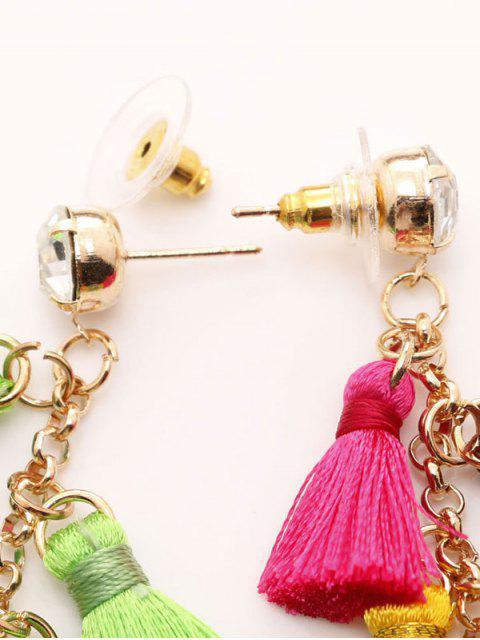 fancy Rhinestone Pineapple Tassel Heart Chain Earrings - GREEN  Mobile
