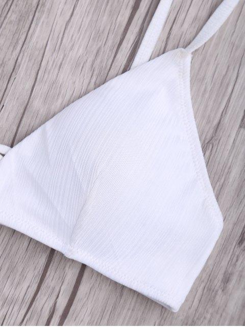 sale Criss Cross Spaghetti Strap Texture Bikini Set - WHITE M Mobile