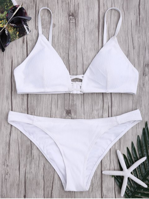 womens Criss Cross Spaghetti Strap Texture Bikini Set - WHITE XL Mobile