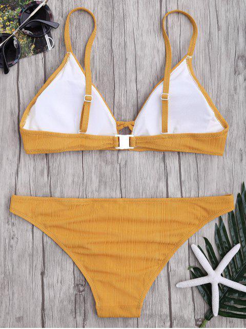 outfit Criss Cross Spaghetti Strap Texture Bikini Set - GINGER S Mobile
