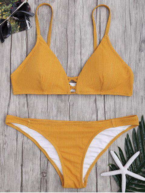 shop Criss Cross Spaghetti Strap Texture Bikini Set - GINGER XL Mobile
