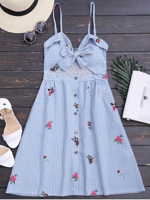 Geripptes Cami Kleid mit Schleifedetail und Cut Out - Mehrfarbig XL Mobile