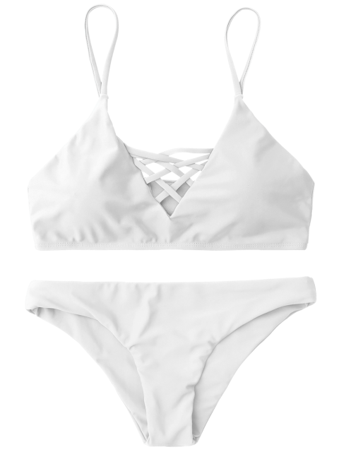 best Lace Up Bikini Swimwear - WHITE S Mobile
