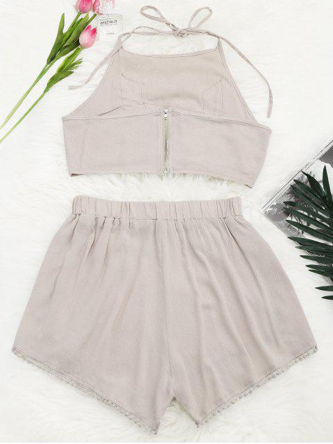 lady Lace Floral Halter Crop Top and Shorts - YELLOWISH PINK L Mobile