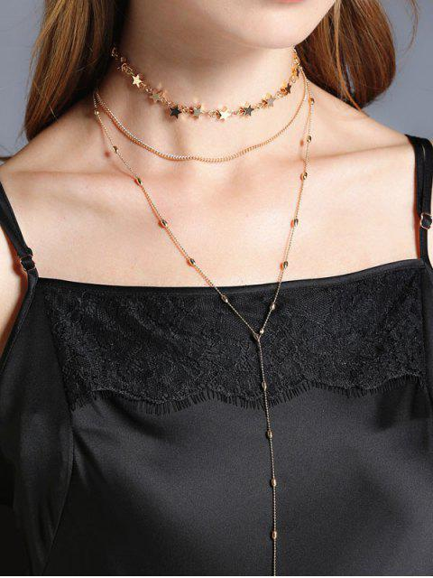 outfit Star Collarbone Chain Necklace Set - GOLDEN  Mobile