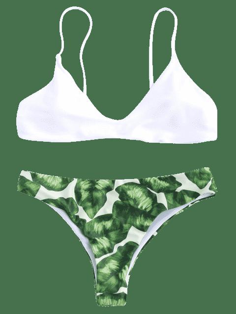 sale Spaghetti Straps Palm Tree Bikini - WHITE S Mobile