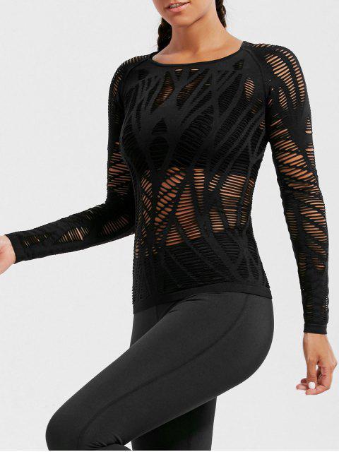 shop Long Sleeve Sheer Ripped Sports T-shirt - BLACK S Mobile