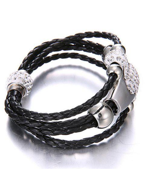 unique Magnet Buckle Layered Rhinestone Beaded Bracelet - BLACK  Mobile