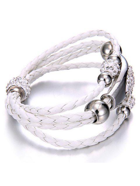 buy Magnet Buckle Layered Rhinestone Beaded Bracelet - WHITE  Mobile