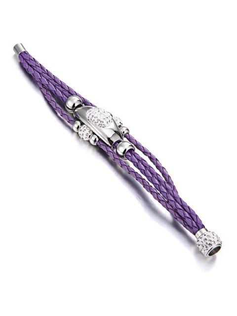 women Magnet Buckle Layered Rhinestone Beaded Bracelet - PURPLE  Mobile