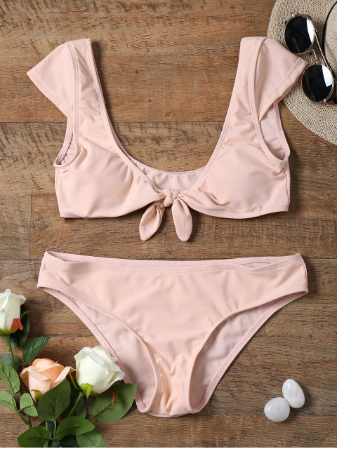chic Cap Sleeve Bowknot Front Crop Top Bikini - SHALLOW PINK S Mobile