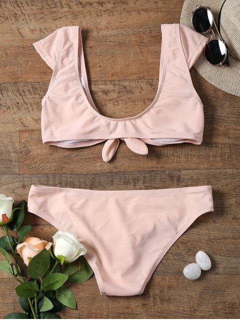 unique Cap Sleeve Bowknot Front Crop Top Bikini - SHALLOW PINK L Mobile