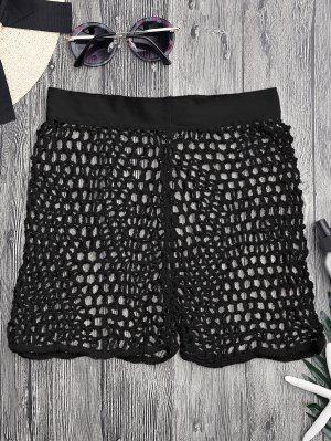 Crochet Fishnet Beach Cover Up Pantalones Cortos - Negro S